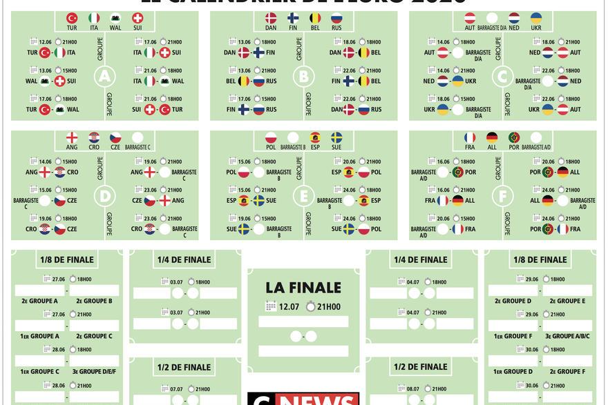 Téléchargez le calendrier de l'Euro 2020 de football en PDF | CNEWS