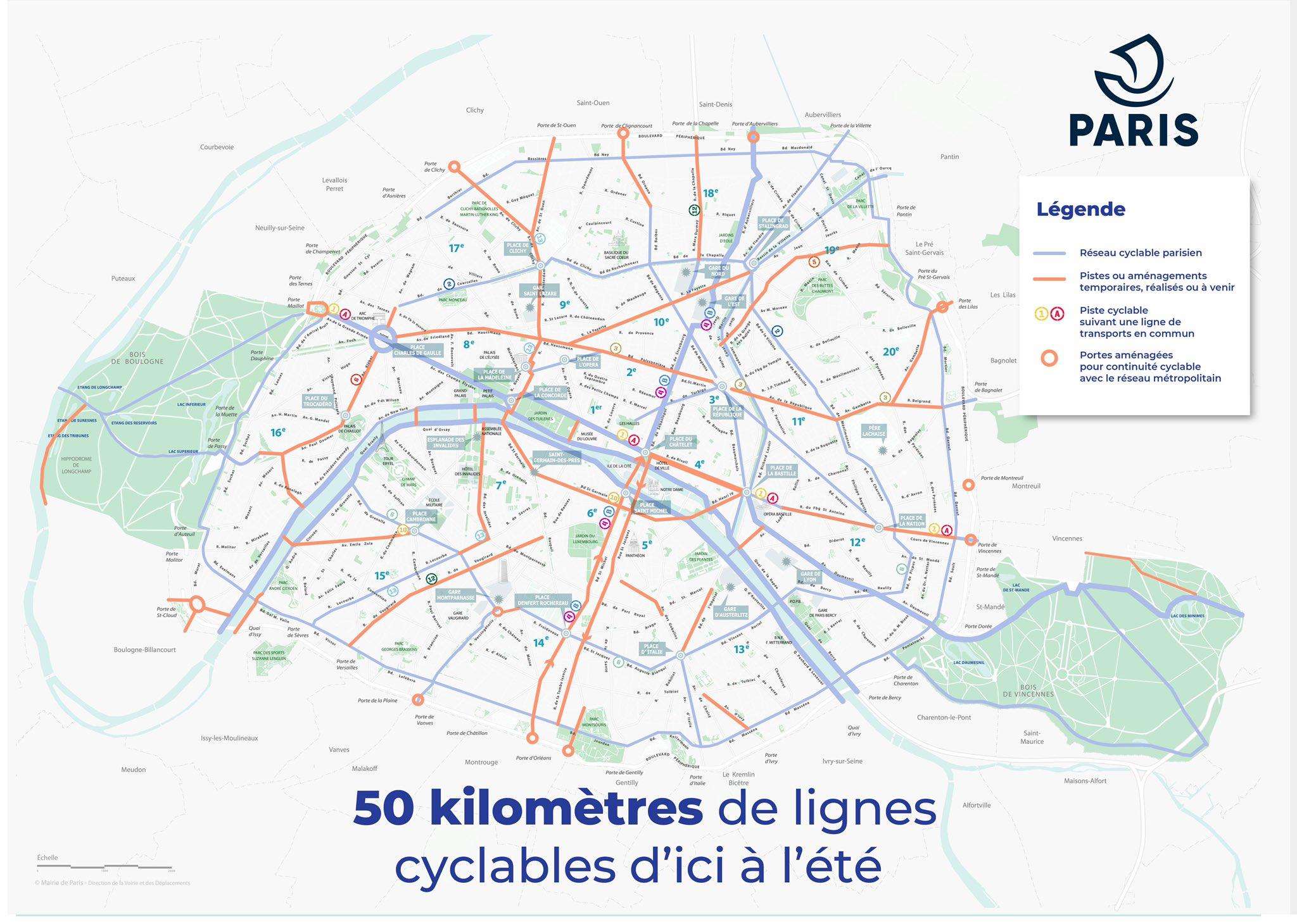Paris Decouvrez Ou Sont Les 50 Km De Nouvelles Pistes Cyclables Cnews