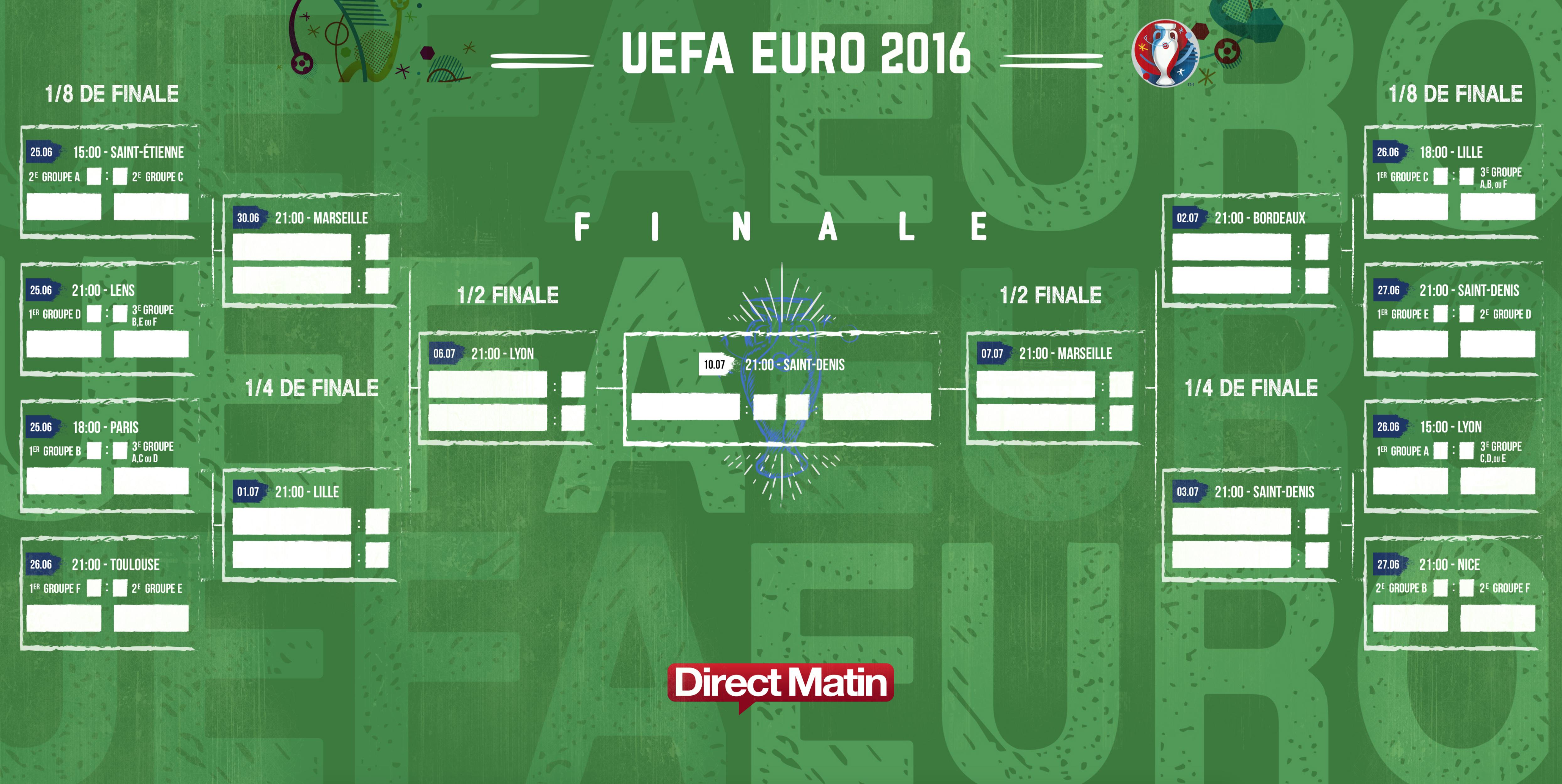 t l chargez le calendrier de la phase finale de l 39 euro 2016 de football en pdf. Black Bedroom Furniture Sets. Home Design Ideas