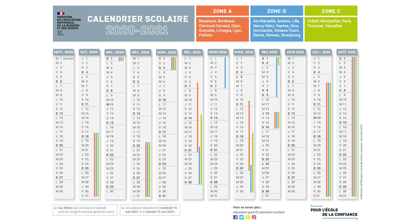 Calendrier Ecole 2021 Rentrée Scolaire 2020 : Téléchargez le calendrier de l'année