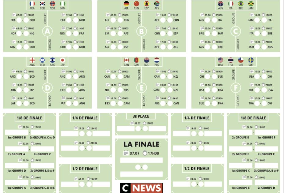 Euro Foot Feminin 2019 Calendrier.Telechargez Le Calendrier De La Coupe Du Monde Feminine De