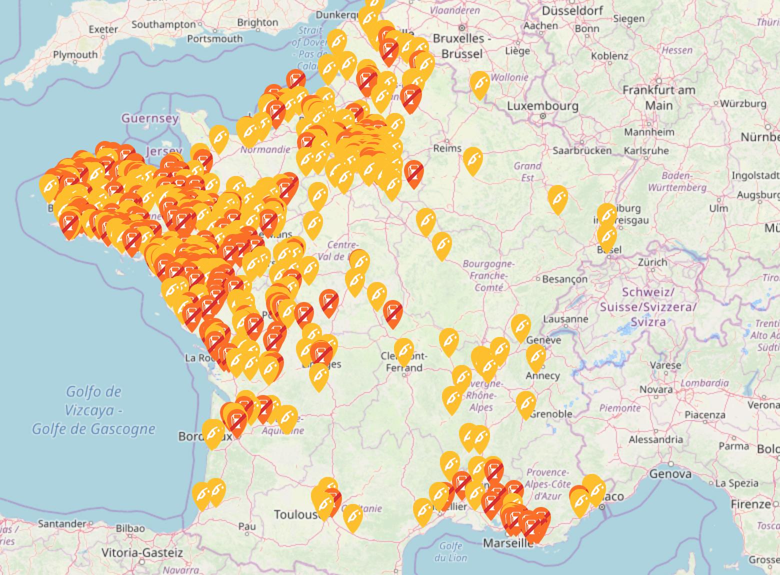 carte station essence penurie Risque de pénurie d'essence : quelles sont les stations services