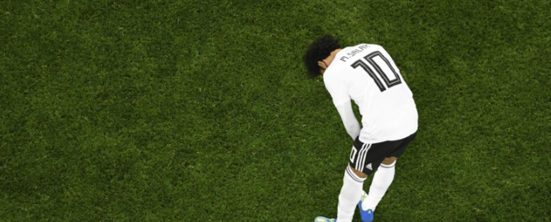La déception de l'attaquant vedette égyptien Mohamed Salah après la défaite face à la Russie, le 19 juin 2018 à Saint-Pétersbourg [CHRISTOPHE SIMON / AFP]