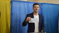 Zelensky lors de l'élection qui le verra devenir président de l'Ukraine