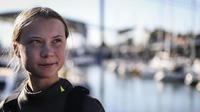 Greta Thunberg à son arrivée à Lisbonne le 3 décembre