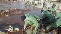 Des militaires français s'affairent, le 26 janvier 2000 à Batz-sur-Mer, en Loire-Atlantique, à nettoyer une plage polluée par le pétrole de l'Erika [Frank Perry / AFP/Archives]