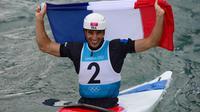 Le Français Tony Estanguet, sacré champion olympique de canoë (C1), aux JO de Londres le 31 juillet 2012. [Olivier Morin / AFP]