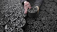 Des briques de charbon dans un commerce de Huaibei, en Chine [ / AFP/Archives]