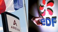 Un montage de deux photos des logos d'Areva et EDF [Jean-Pierre Clatot / AFP/Archives]