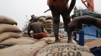 Des ouvriers vident des sacs de cacao ivoirien le 18 janvier 2011 dans le Port d'Abidjan [Issouf Sanogo / AFP/Archives]
