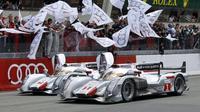 Les Audi R18 e-tron quattro réalisent le doublé aux 24 Heures du Mans, le 17 juin 2012 [Charly Triballeau / AFP/Archives]