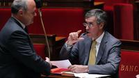 Bruno Le Roux, président du groupe PS , et Jérôme Cahuzac, ministre du Budget, le 16 juillet 2012 à l'Assemblée nationale à Paris [Pierre Verdy / AFP/Archives]