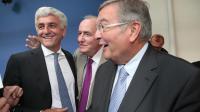 Hervé Morin, Michel Leroy et Michel Mercier le 18 septembre 2012 à Paris [Jacques Demarthon / AFP/Archives]