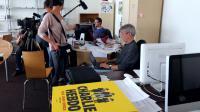 Charb, le patron de Charlie Hebdo (C) le 19 septembre 2012 à Paris [Thomas Samson / AFP]