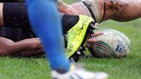 Un ballon de rugby lors d'un match de Coupe d'Europe [Pascal Pavani / AFP/Archives]
