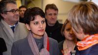 Najat Vallaud-Belkacem le 25 février 2013 en visite dans une usine à Vouneuil-sous-Biard près de Poitiers [Alain Jocard / AFP/Archives]