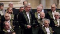 Le Nobel de médecine français d'origine luxembourgeoise Jules Hoffmann est reçu à l'Académie française, le 30 mai 2013 [Jacques Demarthon / AFP]
