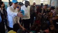 Ban Ki-moon en visite officielle à Haïti, en octobre 2016.