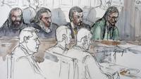 De gauche à droite : Boubakeur El Hakim, Said Abdallah alias Said Hatim, Nacer Eddine Mettai et Farid Benyettou, jugés le 20 mars 2008, pour avoir recruté des jeunes musulmans  du 19e arrondissement de Paris pour combattre en Irak.
