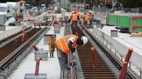Photo d'illustration, prise lors du chantier de construction du tram T3b.