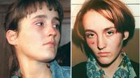 Montage de deux photos de Florence Rey : à gauche, tel qu'elle est apparue le 17 septembre 1998 dans le box des accusés ; à droite, tel qu'elle était lors de son arrestation en octobre 1994.