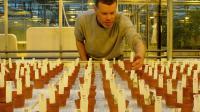 Photographie transmise par le département de recherche de l'université de Wageningen le 6 mai 2016 montrant le chercheur Wieger Wamelink inspectant ses cultures dans un sol pseudo-martien au laboratoire de l'université aux Pays-Bas [Joep Frissel / University of Wageningen/AFP]