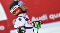 Marcel Hirscher exulte après son sacre mondial dans le slalom géant à Saint-Moritz, le 17 février 2017 [Fabrice COFFRINI / AFP]