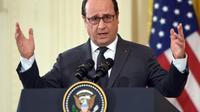 François Hollande pendant une conférence de presse conjointe avec Barack Obama à la Maison-Blanche le 24 novembre 2015 [NICHOLAS KAMM / AFP]
