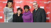"""L'équipe de """"Twenty Feet From Stardom"""" (A quelques mètres de la gloire): le réalisateur Morgan Neville aux côtés des chanteuses Judith Hill, Tata Vega et Merry Clayton (de G à D), au Festival de Sundance dans l'Utah, le 17 janvier 2013 [Michael Loccisano / AFP/Getty Images]"""