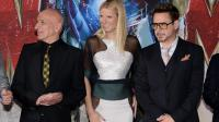 Les acteurs Sir Ben Kingsley, Gwyneth Paltrow, et Robert Downey Jr, le 24 avril 2013 à Hollywood [Kevin Winter / Getty Images/AFP/Archives]
