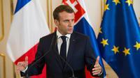 Le président français Emmanuel Macron en conférence de presse à Bratislava en Slovaquie, le 26 octobre 2018 [VLADIMIR SIMICEK / AFP]