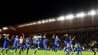La joie des joueurs de la Juventus après leur victoire face à Monaco en demi-finales de la Ligue des champions au stade Louis II , le 3 avril 2017 [FRANCK FIFE / AFP]