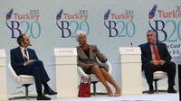 La directrice générale du FMI Christine Lagarde (c) s'exprime lors de la réunion des grands argentiers du G20 à Ankara, le 4 septembre 2015 [ADEM ALTAN / AFP]
