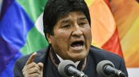 Le président bolivien s'exprime lors d'une conférence de presse à La Paz, le 24 octobre 2019 [AIZAR RALDES / AFP/Archives]