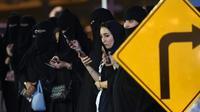Des Saoudiennes assistent à un cours de conduite à Riyad, le 21 juin 2018 [FAYEZ NURELDINE / AFP/Archives]
