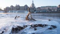 Les rives gelées de l'Elbe, le 26 février 2018 à Dresde, en Allemagne [Sebastian Kahnert / dpa/AFP]