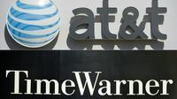 Photo montage des sigles de AT & T et Time Warner qui ont annoncé leur fusion [SAUL LOEB, STAN HONDA / AFP]