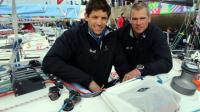 Les skippers Erwan Tabarly et Thierry Chabagny, le 3 avril 2016 à Concarneau [FRED TANNEAU / AFP/Archives]