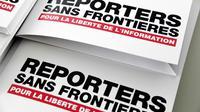 Le rapport annuel de Reporters sans frontières présenté lors d'une conférence de presse, le 25 avril 2018 à Paris [BERTRAND GUAY / AFP]