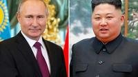 Montage photo de portraits du président russe Vladimir Poutine, le 3 avril 2019, et du leader nord-coréen Kim Jong Un, le 7 octobre 2018 [Alexander Zemlianichenko, Handout / POOL/AFP/Archives]