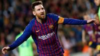 L'attaquant du FC Barcelone Lionel Messi buteur lors de la victoire à domicile sur Levante 1-0 en 34e journée du championnat d'Espagne le 27 avril 2019 [PAU BARRENA / AFP]