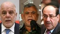 De g. à d., le Premier ministre sortant irakien Haider al-Abadi à Tokyo le 5 avril 2018, Hadi al-Ameri, dirigeant au sein du Hachd al-Chaabi, le 5 octobre 2015 à Najaf, et l'ancien Premier ministre Nouri al-Maliki à Bagdad le 8 septembre 2014 [Kazuhiro NOGI, HAIDAR HAMDANI, HADI MIZBAN / AFP]