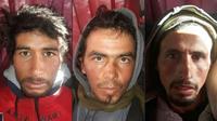 Photo distribuée par la police marocaine montrant les trois suspects interpellés le 20 décembre 2018 dans le cadre de l'enquête sur le meurtre de deux touristes scandinaves, dans le sud du Maroc [- / MOROCCAN POLICE/AFP]