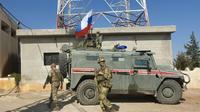 Patrouille russe à Kobané, dans le nord-est de la Syrie, le 23 octobre 2019 [- / AFP]