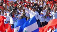 Le président Daniel Ortega lors d'un rassemblement de ses partisans pour le 39e anniversaire de la révolution sandiniste, le 19 juillet 2018 à Managua, au Nicaragua [MARVIN RECINOS / AFP]