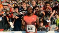 Le sprinteur jamaïcain Usain Bolt après sa victoire sur le 100m d'Ostrava, en République Tchèque, le 20 mai 2016 [Michal Cizek / AFP/Archives]