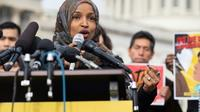 L'élue démocrate du Minnesota, Ilhan Omar, le 7 février 2019 devant le Capitole à Washington  [SAUL LOEB / AFP]