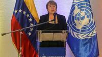 La Haute-commissaire aux droits de l'homme de l'ONU Michelle Bachelet donne une conférence de presse à Caracas, le 21 juin 2019 [CRISTIAN HERNANDEZ / AFP]