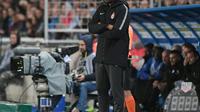 Thierry Henry en déplacement avec Monaco à Strasbourg, pour ses débuts comme entraîneur en Ligue 1, le 20 octobre 2018 [FREDERICK FLORIN / AFP]