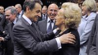 Nicolas Sarkozy et Bernadette Chirac lors d'un meeting le 20 avril 2012 à Nice [Philippe Wojazer / AFP/Archives]